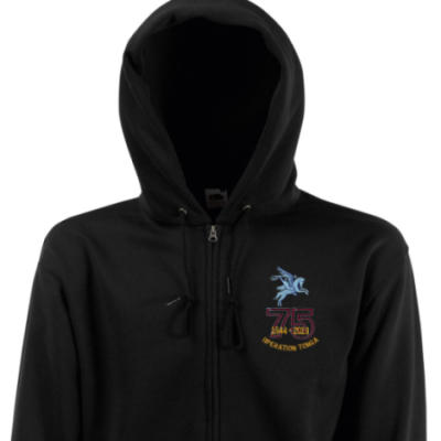 Zip Up Hoody - Black - Operation Tonga 75th (Pegasus)