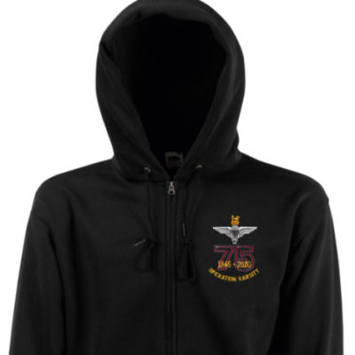Zip Up Hoody - Black - Operation Varsity 75th (Para)
