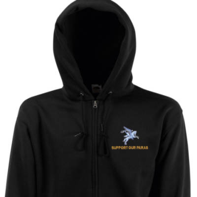 Zip Up Hoody - Black - Support Our Paras (Pegasus)