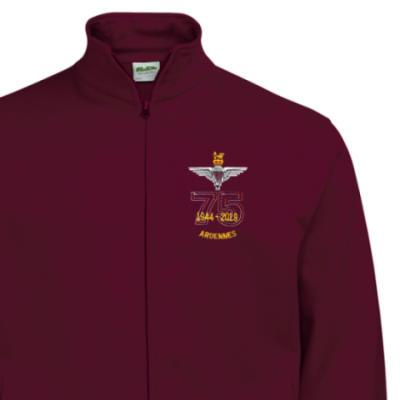 Zip-Up Sweatshirt - Maroon - Ardennes 75th (Para)