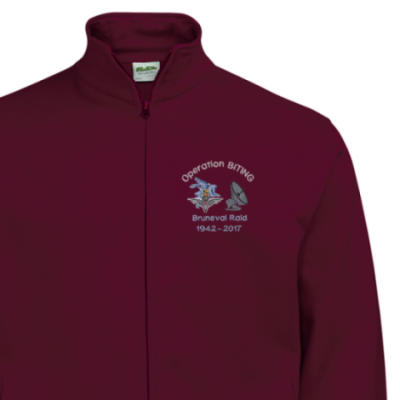 Zip-Up Sweatshirt - Maroon - Bruneval Raid (Operation Biting) 75th